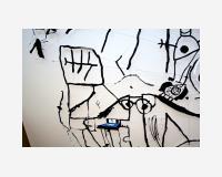 Le vital dans l'hopilage  2012  - encre de chine, crayon, marker et acrylique sur Tyvek découpé, épingles - 320 x 400cm         /         Le vital dans l'hopilage  2012  - Indian Ink, pencil, marker and acrylic paint on Tyvek, pins - 320 x 400cm