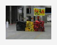 """""""Drapeau en déchets domestiques belges, 2006,..."""" (dimensions évolutives).  / """"Domestic belgium flag remains, 2006,..."""" (evolutive size).  2ème actualisation: «.be-autiful - Belgicarium »  asbl «TOUT», anciens entrepots Pfiser, Laeken, Bruxelles (B) - vue de l'exposition"""
